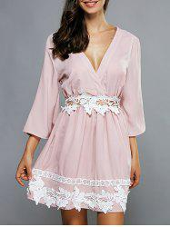 Plunging Neck Laciness Casual Cute Dress -