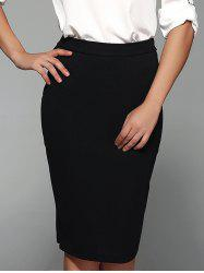 Knee Length Plain Bodycon Skirt - BLACK