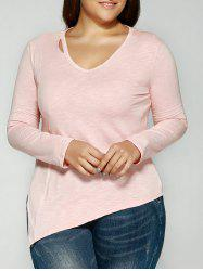 Cut Out V-Neck Asymmetrical T-Shirt - PINK 3XL