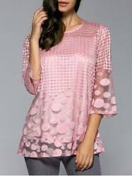Spliced Plaid Polka Dot Chiffon Blouse