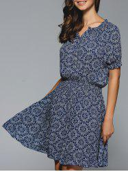 Bandanna Print  Mini Dress - PURPLISH BLUE
