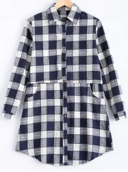 Plus Size Plaid Pocket Design Buttoned Shirt