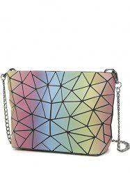 Geometric Pattern Zipper Chain Crossbody Bag