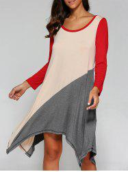 Long Sleeve Asymmetrical T-Shirt Dress -
