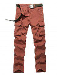 Plus Size Straight Leg Flap Pockets Design Cargo Pants -