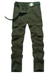 Plus Size Zipper Fly Button Flap Pockets Design Cargo Pants - ARMY GREEN 36