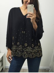 V Neck Long Sleeve Rhinestone Blouse -