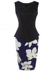 Flower Patched Bodycon Dress - BLUE AND BLACK L