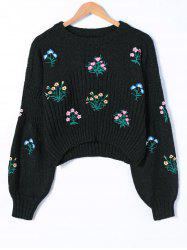 Floral Print Long Sleeve Knitwear - BLACK