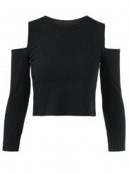 Cold Shoulder Plain Cropped Sweater - BLACK L