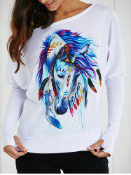 Skew Collar Cartoon Horse Print T-Shirt