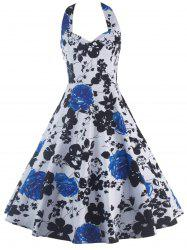 Halterneck Print Swing Dress - BLUE 2XL