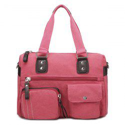 Canvas Double Pocket Zippers Shoulder Bag -