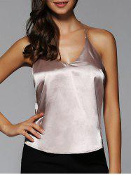 Glossy Spaghetti Straps Backless Tank Top -