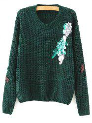 Round Neck Long Sleeve Sequins Sweater -