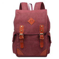 Double Buckle Canvas Colour Block Backpack - CLARET