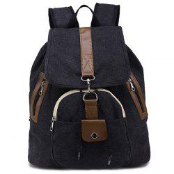 Drawstring Snap Canvas Backpack - BLACK