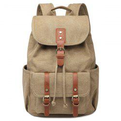 Drawstring Buckles Canvas Backpack