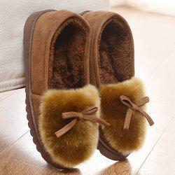 Faux Fur Suede Bow Chaussons -
