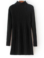 High Neck Cable Knit Fitted Sweater Dress - BLACK