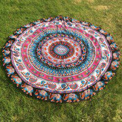 Ethnic Paisley and Elephant Print Chiffon Round Beach Throw