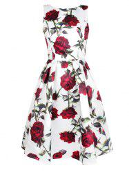 Sleeveless Rose Print Swing Dress