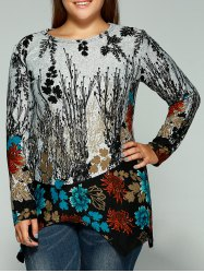 Plus Size Full Sleeve Print Kniwear