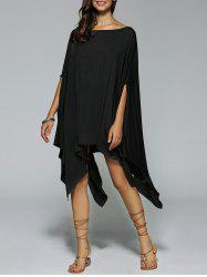 Boat Neck Dolman Sleeves Casual Handkerchief Dress - BLACK