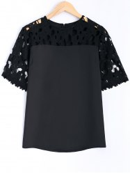 Guipure Lace Splicing Openwork Blouse - BLACK