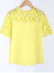 Guipure Lace Splicing Openwork Blouse -