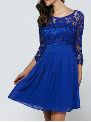 3/4 manches Laciness robe en mousseline de soie Cutwork - Bleu Royal