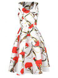 Flowers Printed Sleeveless Flare Dress -