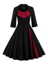 Bowknot Panel Flare Rockabilly Swing Dress - BLACK 2XL