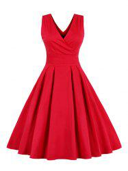 Retro Back Bowtie Sleeveless Tea Length Skater Dress - RED