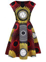 Abstract Print Swing Dress