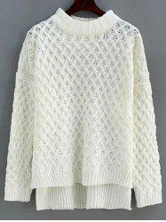 Mock Neck High Low Twist Braided Sweater