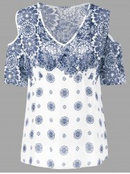 Floral Cold Shoulder T-Shirt - BLUE AND WHITE