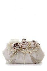 Satin Flowers Lace Evening Clutches - LIGHT CAMEL