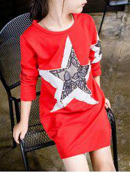 Star Spliced Beaded T-Shirt Dress -