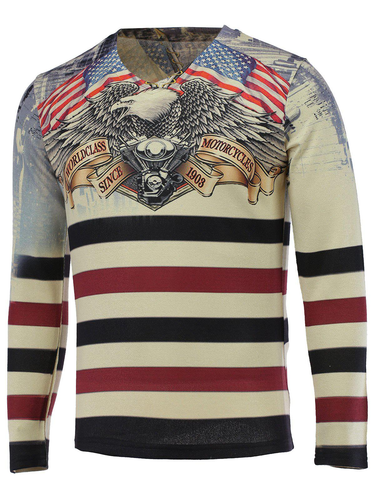3D Eagle and Stripe Print V-Neck Pull à manches longues