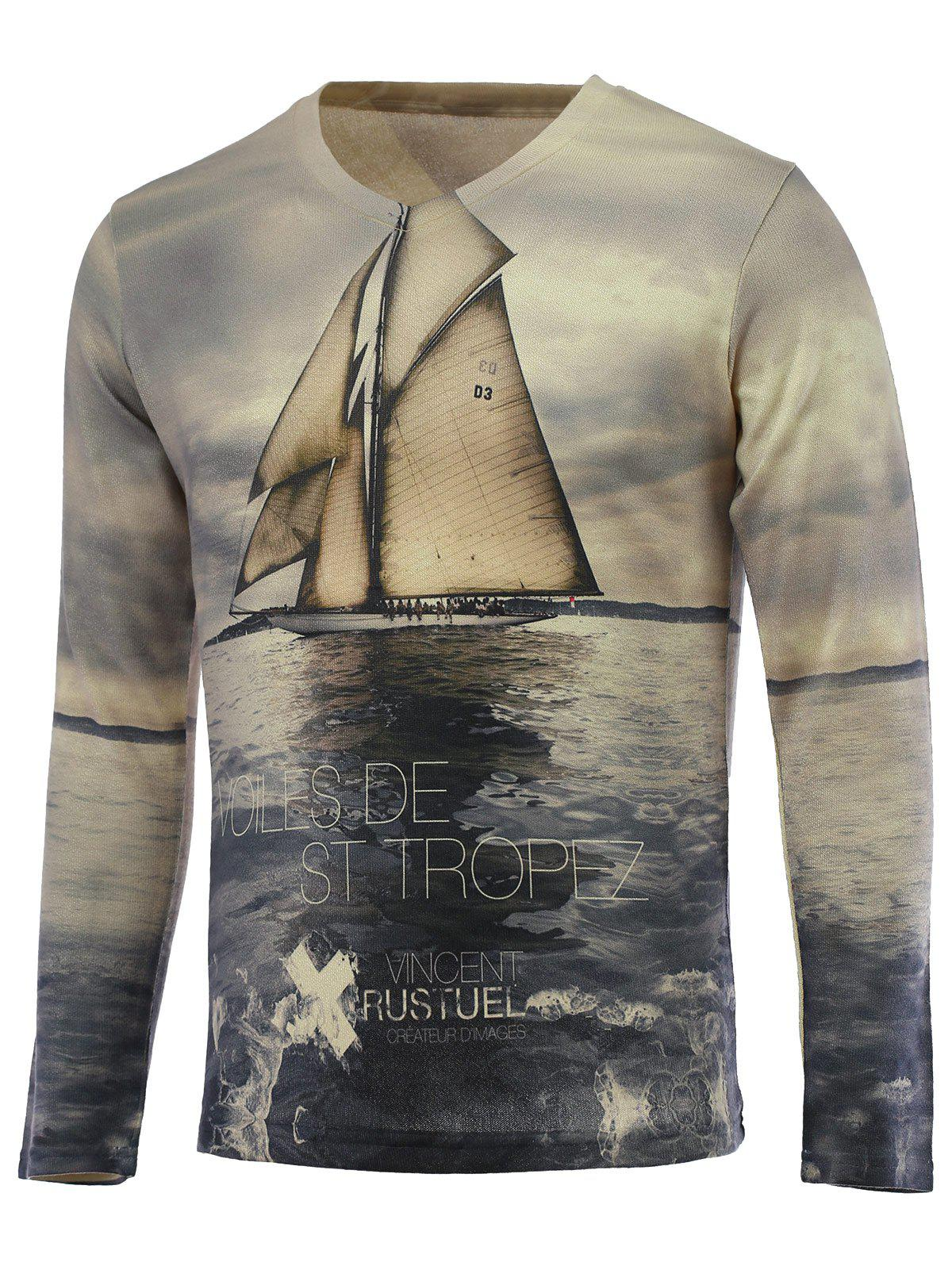 Outfit 3D Sailing Print V-Neck Long Sleeve Sweater