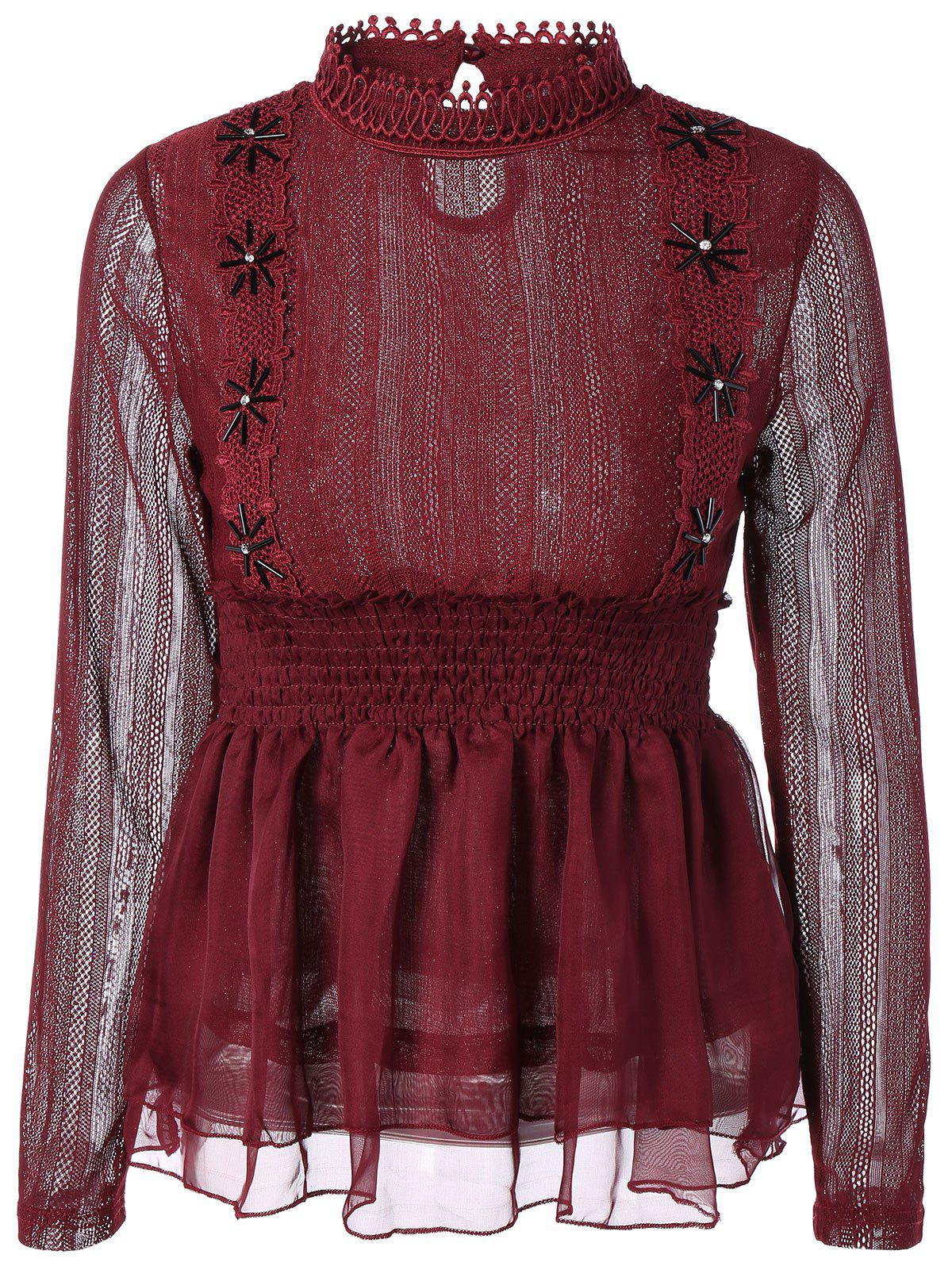 Outfit Beaded Lace Splicing Peplum Blouse