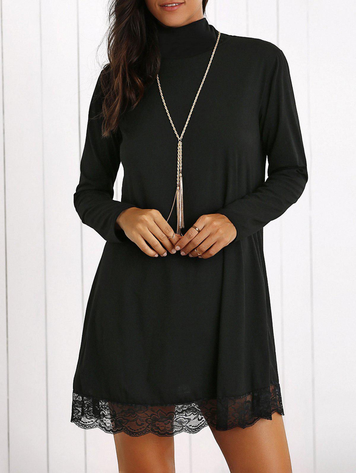 Sale Turtleneck Lace Hem Long Sleeve Mini Dress