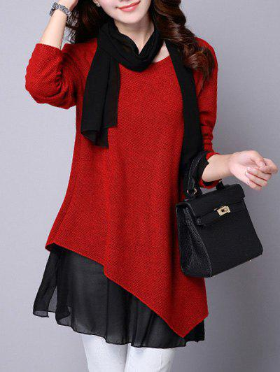Long Sleeve Faux Twinset asymétrique Blouse