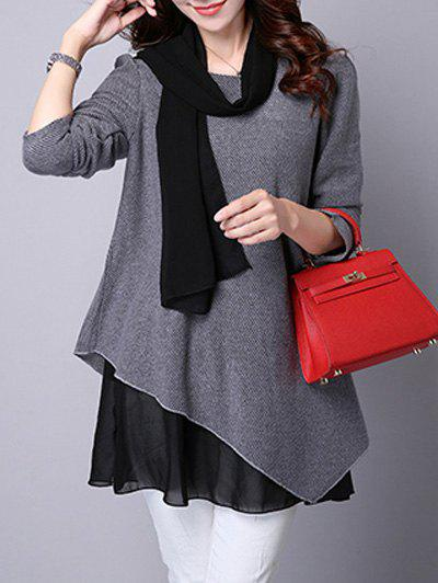 Outfits Long Sleeve Faux Twinset Asymmetric Blouse