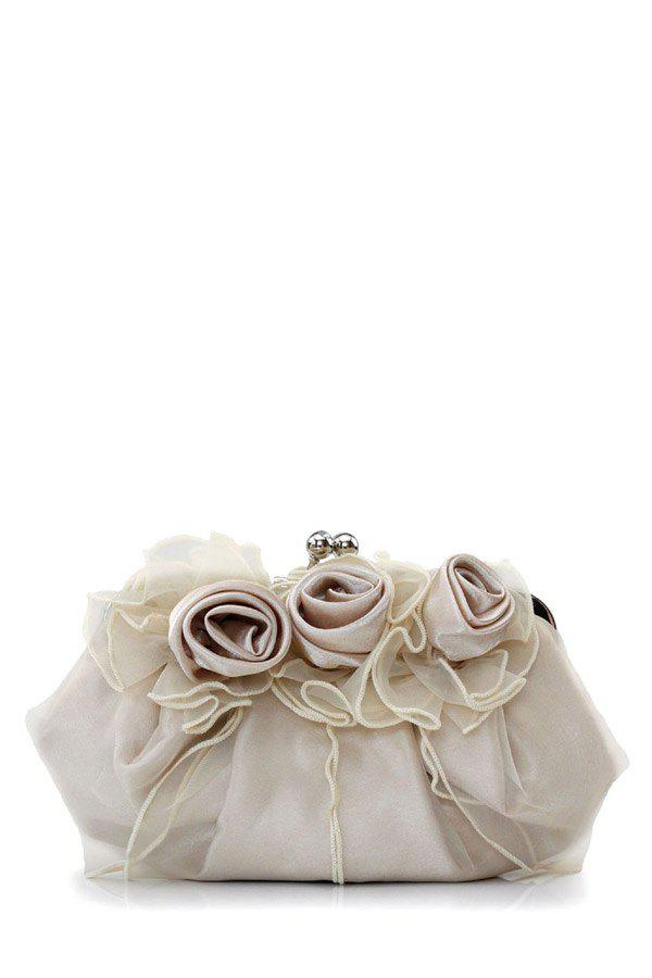 Fancy Satin Flowers Lace Evening Clutches