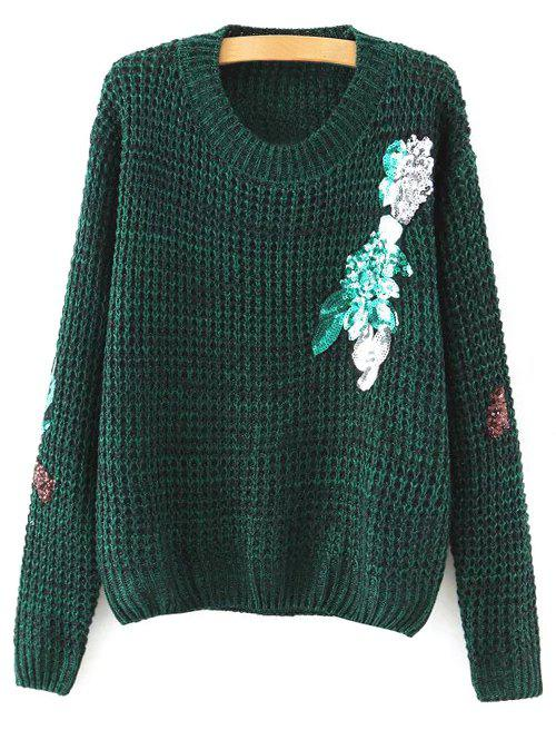 Discount Round Neck Long Sleeve Sequins Sweater