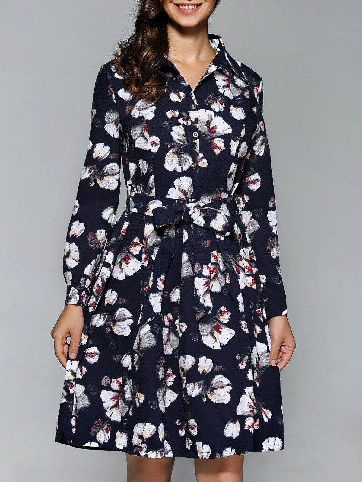 Affordable Long Sleeve Button Down Print Dress