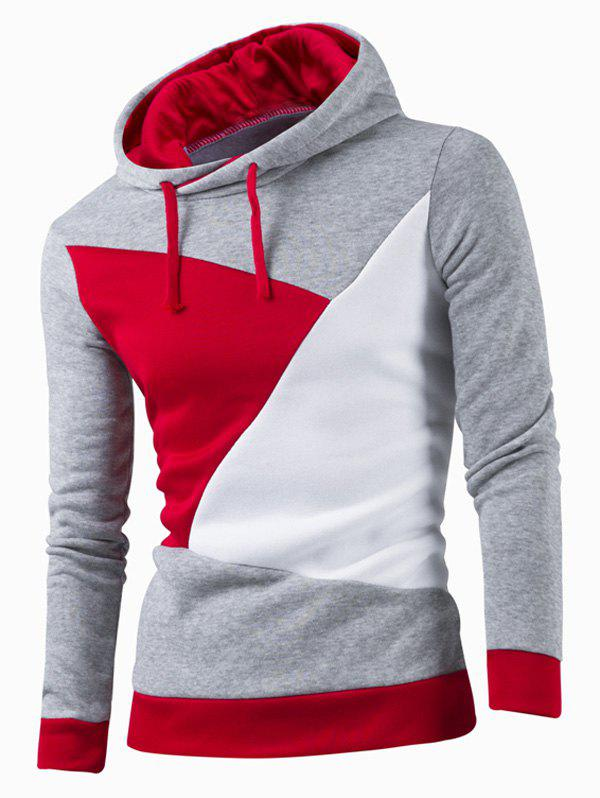 Latest IZZUMI Stylish Color Block Spliced Slim Fit Long Sleeve Hoodies For Men