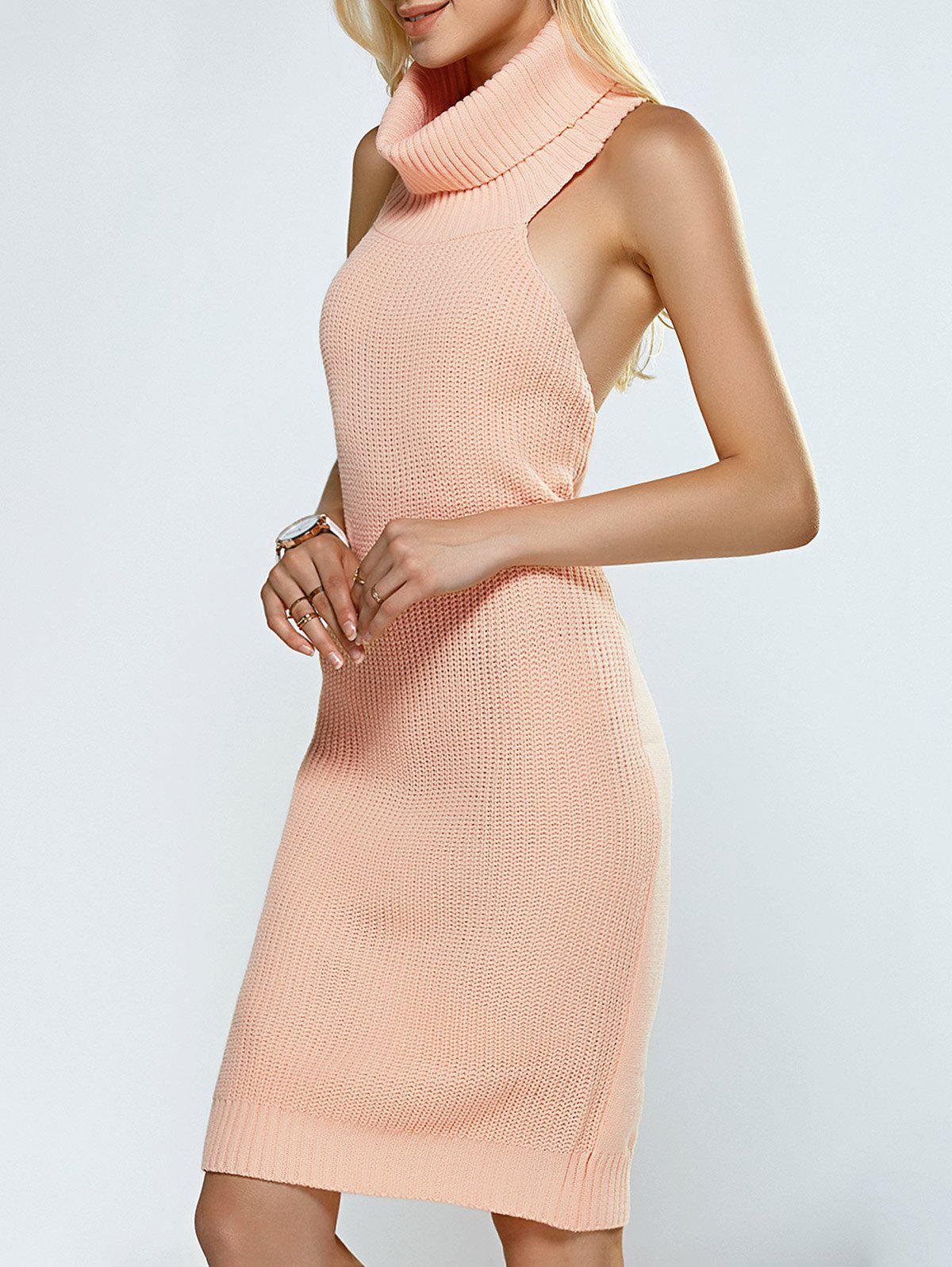 Discount Turtleneck Backless Ribbed Sleeveless Sweater Dress